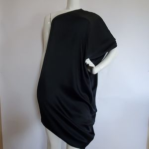 HALSTON HERITAGE black asymmetrical silk dress